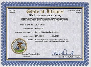 David Smith Radon Illinois Certificate